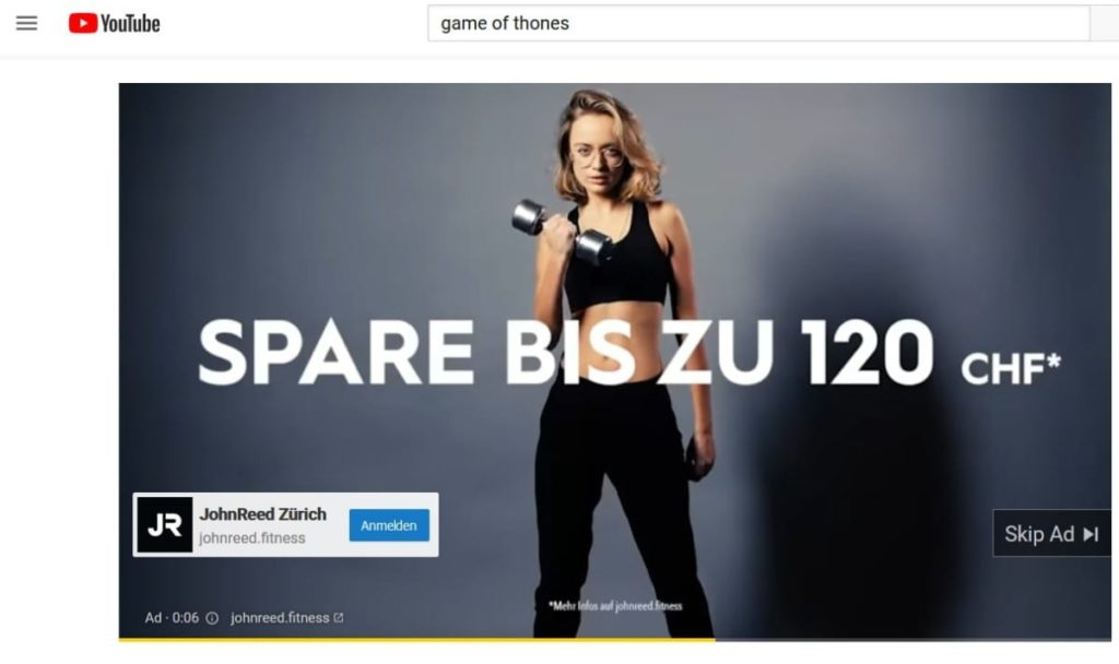 Swiss YouTube Ad While Connected to VPN